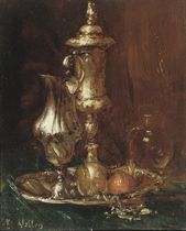 A still life with goblet and glasses