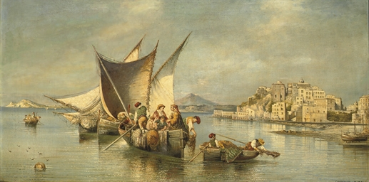 Fishermen near the coast of Po