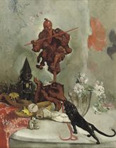 A corner in the artist's studio with an Oriental wooden figure, dolls and a Japanese bronze tiger