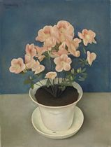 A still life with azaleas in a white pot
