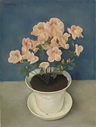 A still life with azaleas in a