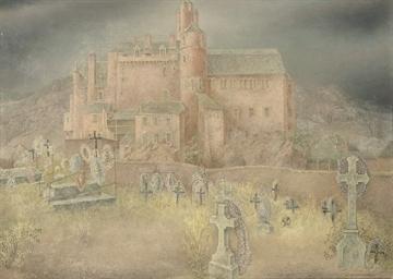 A churchyard near a castle