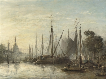 Le Port de Rotterdam, au fond