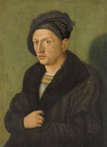 Portrait of a man, half-length, in a black coat and hat