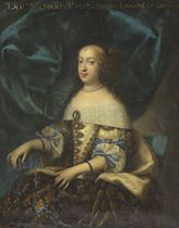 Portrait of the Maria Theresa, Queen of France (1638-1683), seated, in a blue and gold dress