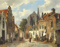 Townspeople on a sunny Dutch street