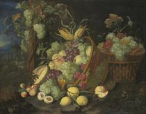 Grapes, nectarines, peaches, plums, figs and a melon in an upturned basket, in a landscape