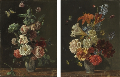 Roses in a porcelain vase on a