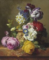 Roses, tulips, morning glory, delphinium and primrose in a terracotta vase on a marble ledge