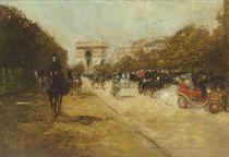 The Arc de Triomphe seen from the Avenue Foch, Paris