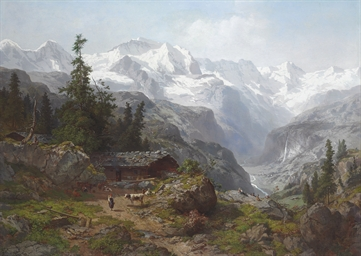 A View of Lauterbrunnen with t