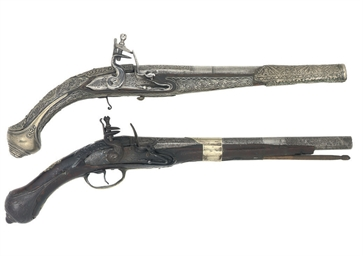 A TURKISH FLINTLOCK PISTOL; AN