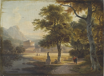 Travelers in an Italianate lan