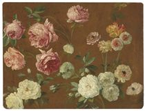 Pink and white roses, chrysanthemums and poppies (recto); Sketch with a woman and her children (verso)