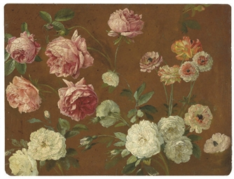 Pink and white roses, chrysant