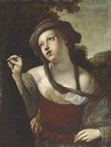 Erminia carving the name of Tancred on a tree, a scene from Tasso