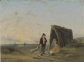 Children playing by the shore