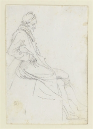 A seated man; and a companion