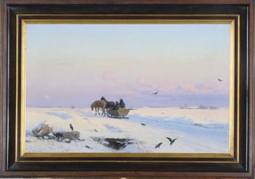 Sledding in a Winter Landscape