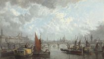 A London Panorama: a view of Somerset House, Saint Paul's and the Waterloo Bridge