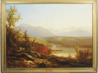 Autumn by the lake in the moun
