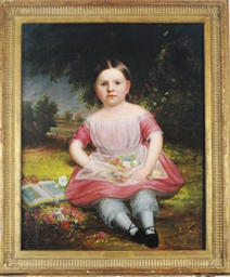 Portrait of a girl in a pink d