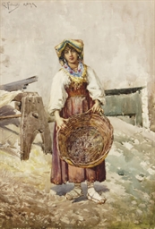 A peasant woman holding a bask