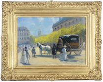 Horse and carriage on a Parisian street