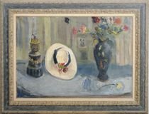 Still life of a bonnet and a vase of flowers
