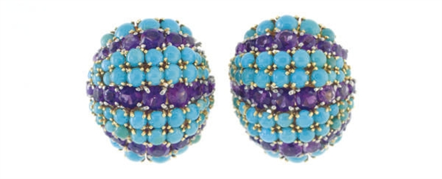A PAIR OF AMETHYST, TURQUOISE