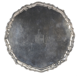 A GEORGE II SILVER SALVER ON F