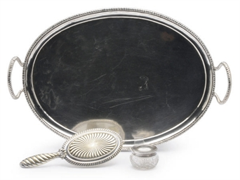 AN ITALIAN SILVER TRAY AND TWO