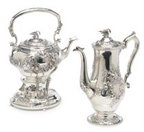 AN AMERICAN SILVER SIX-PIECE TEA AND COFFEE SERVICE,**