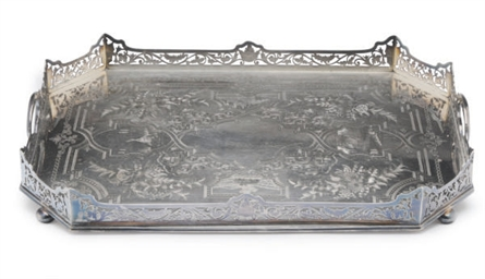 A VICTORIAN SILVER-PLATED CANT