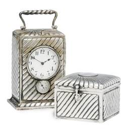 A GERMAN SILVER CARRIAGE CLOCK