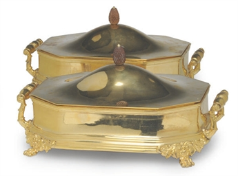 A PAIR OF GILT-PLATED VEGETABL