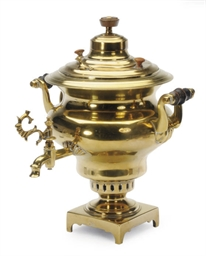 A RUSSIAN BRASS SAMOVAR,