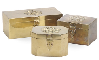 THREE RUSSIAN BRASS BOXES WITH