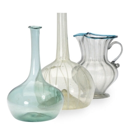 A GROUP OF SIX GLASS VESSELS,