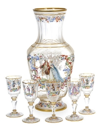AN AUSTRIAN ENAMELED GLASS VAS