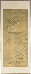 A CHINESE SCROLL PAINTING OF F
