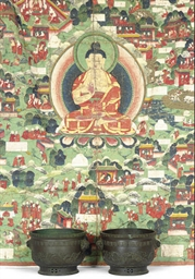 A TIBETAN THANGKA AND TWO ASIA