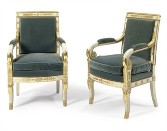 A PAIR OF FRENCH EMPIRE CREAM-