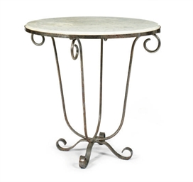 A WROUGHT IRON AND MARBLE-TOP