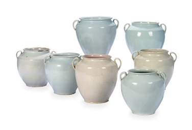 A GROUP OF SEVEN FRENCH GLAZED