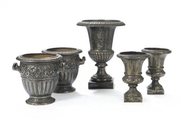 TWO PAIRS OF STEEL URNS,