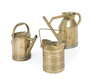 THREE COPPER WATERING CANS