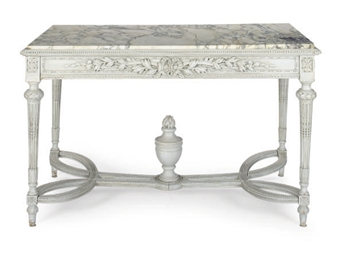 A GREY-PAINTED AND MARBLE-TOP