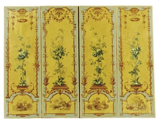 A SET OF FOUR FRENCH PAINTED C