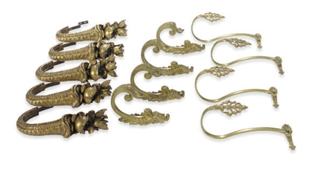 FOUR PAIRS OF GILT-BRONZE TIEB
